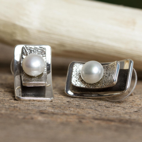 Modern Cultured Pearl Button Earrings from Mexico 'Glowing Mystery'