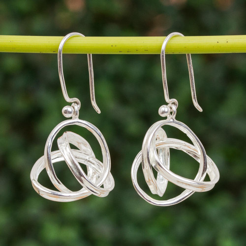 Knot Motif Sterling Silver Dangle Earrings from Mexico 'Knots of Infinity'