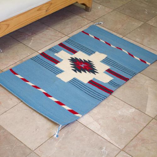 Handwoven Geometric Zapotec Wool Area Rug from Mexico 2x3 'Cerulean Chakana'