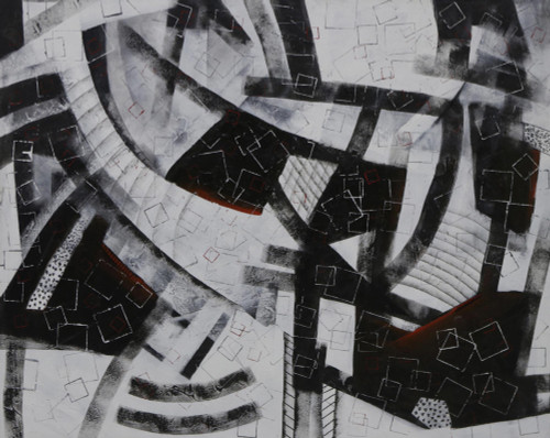 Signed Black and White Modern Abstract Painting from Brazil 'Square World'