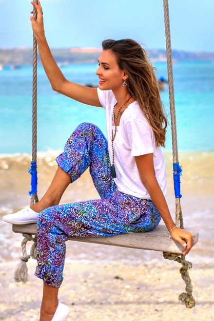Hand-Stamped Batik Rayon Pants from Bali 'Rainbow Clouds'