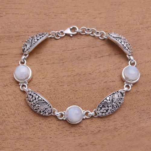 Rainbow Moonstone Link Bracelet from Bali 'Rainbow Shield'