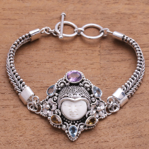 Multi-Gemstone and Bone Pendant Bracelet from Bali 'Guardian of the Rainbow'