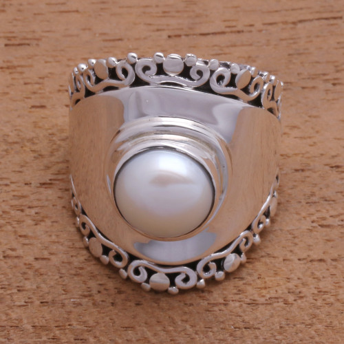 White Cultured Pearl Cocktail Ring Crafted in Bali 'Mountaintop in White'