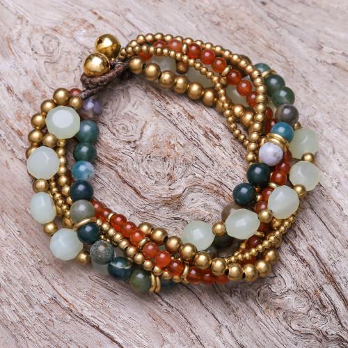 Multi-Gemstone Beaded Torsade Bracelet with Bells 'Thai Vibrance'