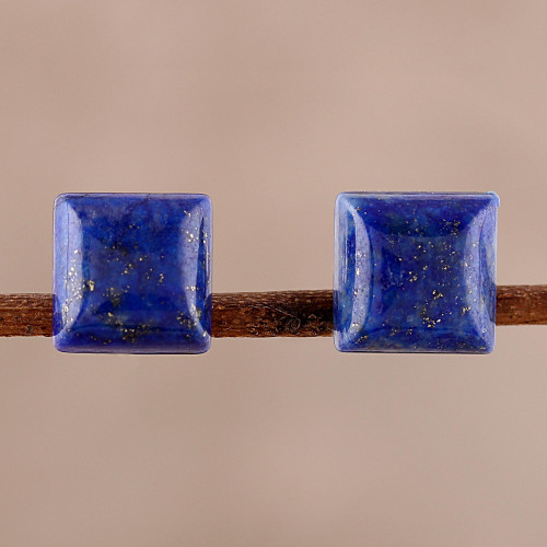 Square Lapis Lazuli Stud Earrings from India 'Contemporary Corners'