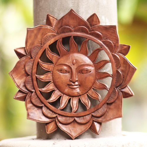 Floral Sun-Themed Suar Wood Relief Panel from Bali 'Sun Flower'