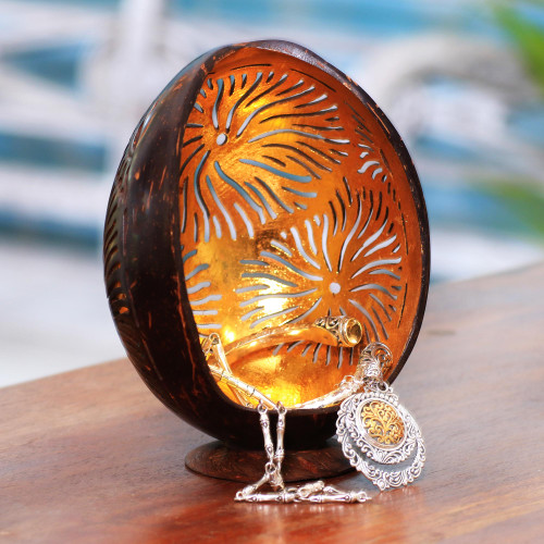 Firework Pattern Coconut Shell Catchall from Bali 'Golden Fireworks'