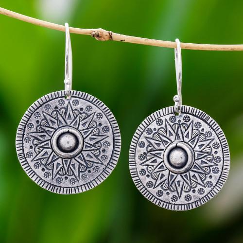 Circular Karen Silver Dangle Earrings from Thailand 'Powerful Sun'
