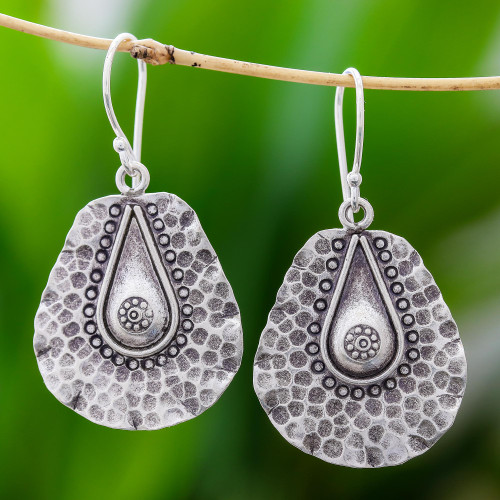 Handmade Drop-Shaped Karen Silver Earrings from Thailand 'Hammered Drops'