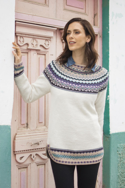 Knit 100 Alpaca Pullover Sweater in Antique White from Peru 'Snowy in the Andes'