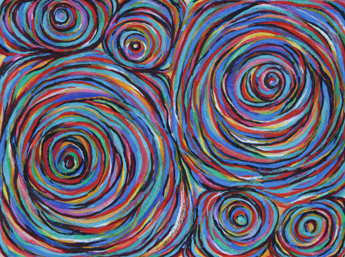 Circle Motif Colorful Abstract Painting from Brazil 'Solar System III'