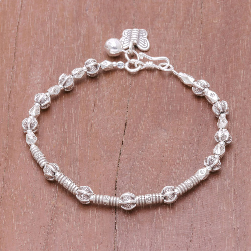 Bracelet with Handcrafted Karen Hill Tribe Silver Beads 'Beautiful Way'