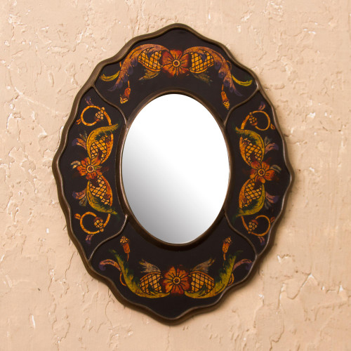 Black Floral Reverse-Painted Glass Wall Mirror from Peru 'Black Colonial Wreath'