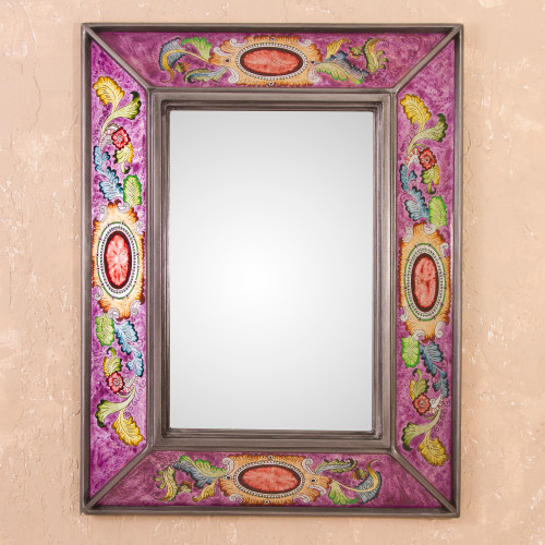 Floral Reverse-Painted Glass Wall Mirror in Purple from Peru 'Floral Medallions in Purple'