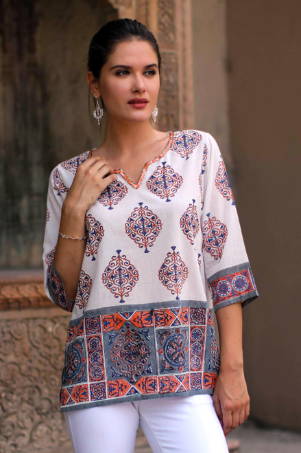 Block-Printed Cotton Tunic from India 'Mughal Glory'
