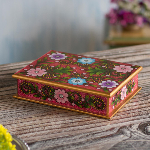 Floral Reverse-Painted Glass Decorative Box in Pink 'Margarita Garden in Pink'