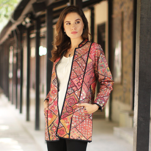 Printed Cotton Jacket with Various Motifs from India 'Blissful Variety'