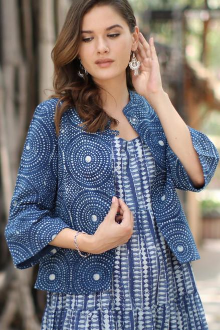 Circle Motif Block-Printed Cotton Jacket from India 'Mesmerizing Indigo'
