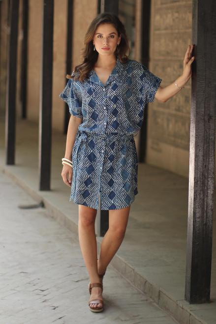 Block-Printed Cotton Shirtdress in Indigo from India 'Indigo Zigzags'