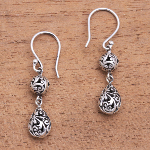 Dewdrop Sterling Silver Dangle Earrings from Bali 'Traditional Dew'