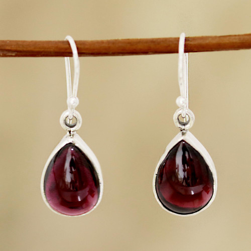 Natural Teardrop Garnet Dangle Earrings from India 'Red Glimmer'