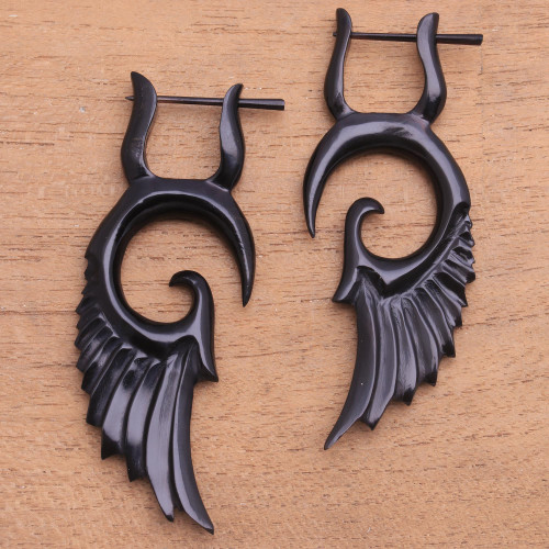 Hand-Carved Horn Wing Drop Earrings from Bali 'Owl's Wings'