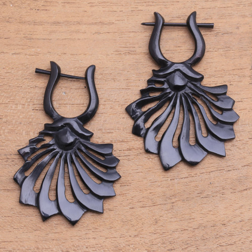 Flower-Shaped Horn Drop Earrings from Bali 'Open Petals'