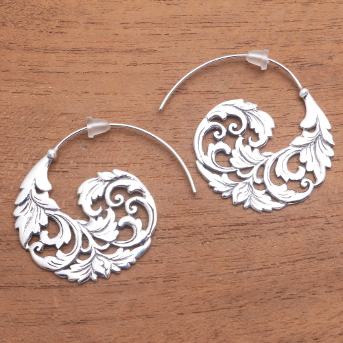 Sterling Silver Vine Half-Hoop Earrings from Bali 'Garden Waves'
