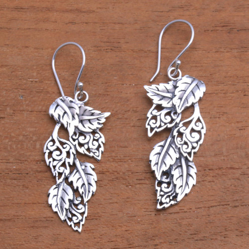 Leaf-Themed Sterling Silver Dangle Earrings from Bali 'Fantastic Forest'