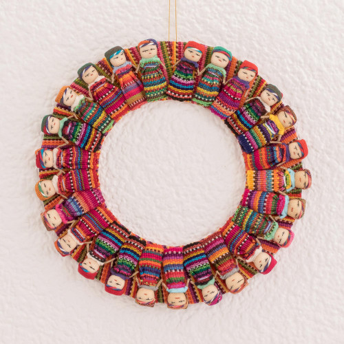 Cotton Worry Doll Wreath from Guatemala 'Quitapenas Happiness'