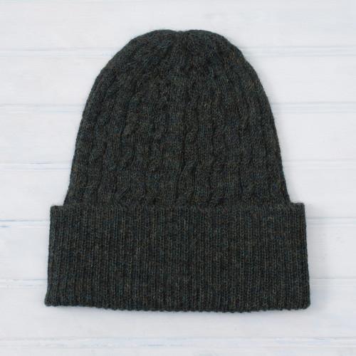 Cable-Knit 100 Alpaca Hat in Moss from Peru 'Moss Braid Cascade'