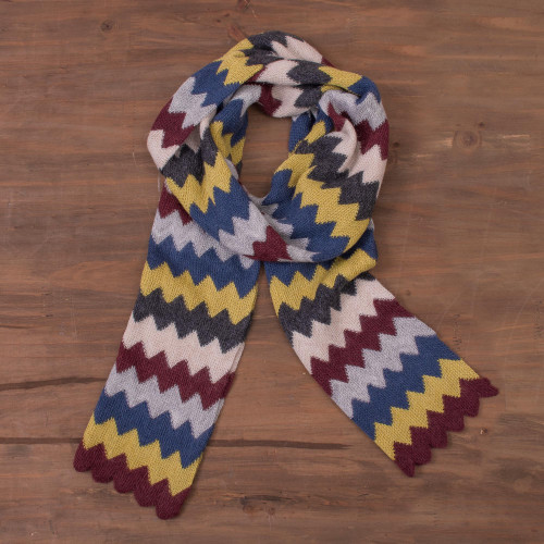 Colorful Zigzag Alpaca Blend Wrap Scarf from Peru 'Zigzag Charm'