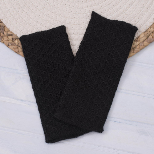 Patterned 100 Baby Alpaca Fingerless Mitts in Black 'Passionate Pattern in Black'