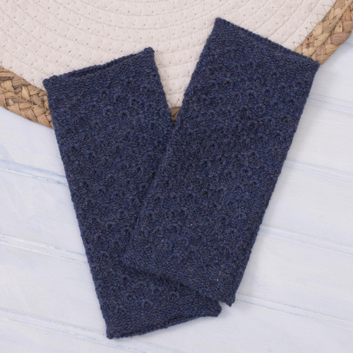 Patterned 100 Baby Alpaca Fingerless Mitts from Peru 'Passionate Pattern in Indigo'
