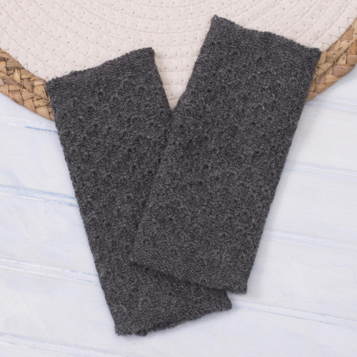 Patterned 100 Baby Alpaca Fingerless Mitts in Graphite 'Passionate Pattern in Graphite'