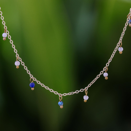 Gold Plated Quartz Charm Necklace from Thailand 'Fabulous Night'