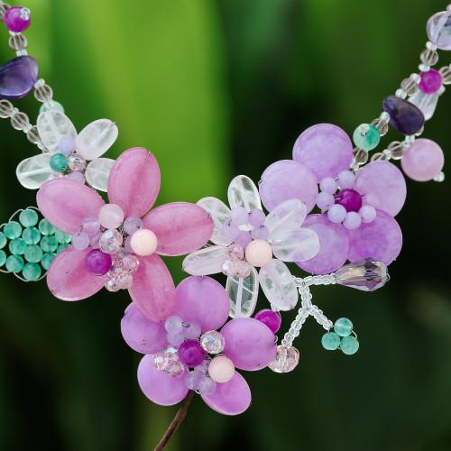 Floral Multi-Gemstone Beaded Statement Necklace 'Lavender Garden'