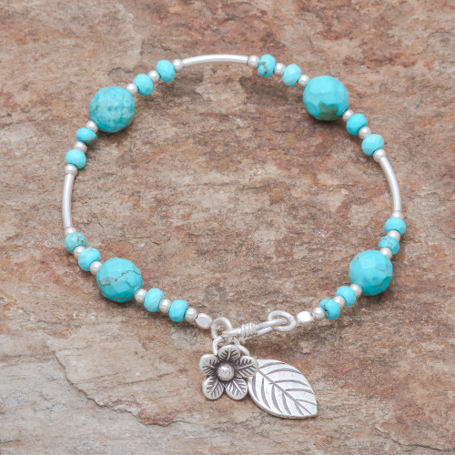 Silver and Reconstituted Turquoise Beaded Bracelet 'Forest River'