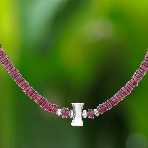 Garnet and Karen Silver Beaded Necklace from Thailand 'Velvety Love'