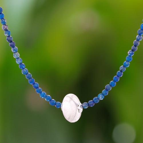 Aventurine and Karen Silver Beaded Pendant Necklace 'Karen Cosmos'
