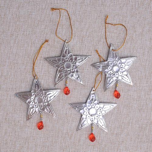 Star-Shaped Aluminum Ornaments from Bali Set of 4 'Glistening Stars'