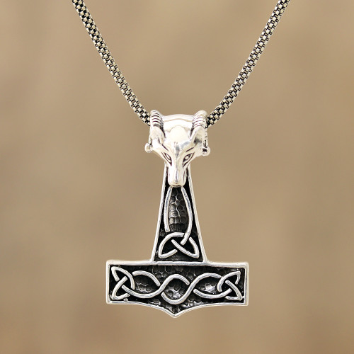 Fox-Themed Sterling Silver Thor's Hammer Necklace from India 'Thor Fox'