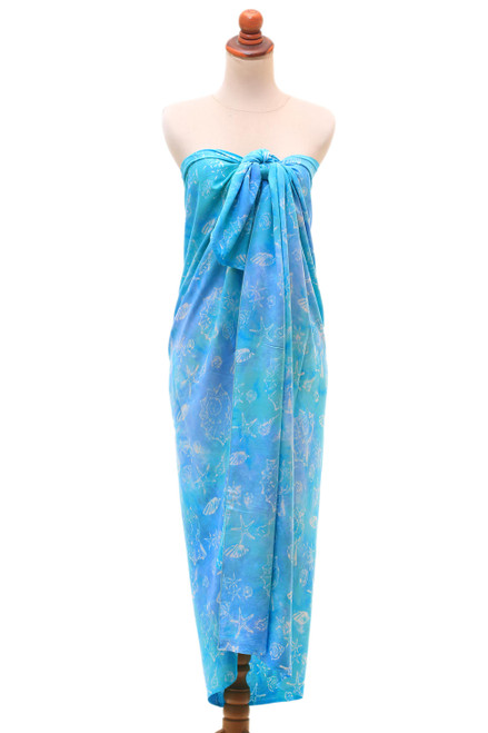 Oceanic Hand-Stamped Batik Rayon Sarong from Bali 'Life Underwater'