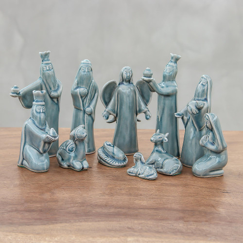 Blue Celadon Ceramic Nativity Scene 11 Piece 'Blue Christmas'