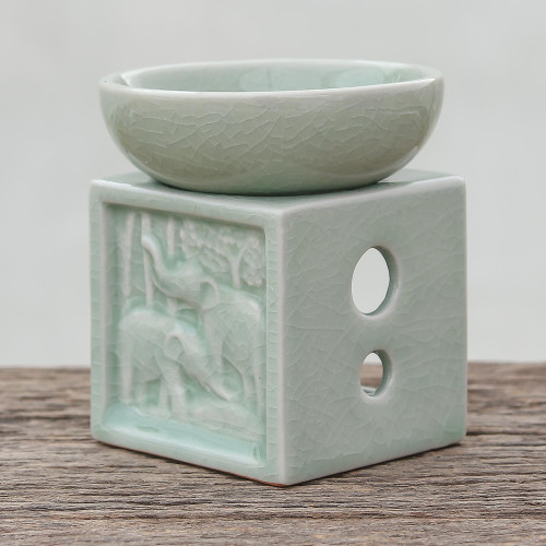 Elephant-Themed Celadon Ceramic Oil Warmer from Thailand 'Elephant Jungle'