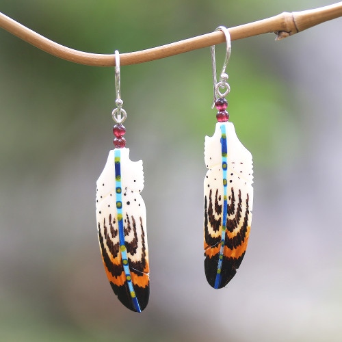 Hand-Painted Bone and Amethyst Feather Dangle Earrings 'Antique Feathers'