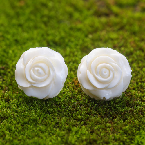 Hand-Carved Bone Rose Button Earrings from Bali 'Fascinating Roses'