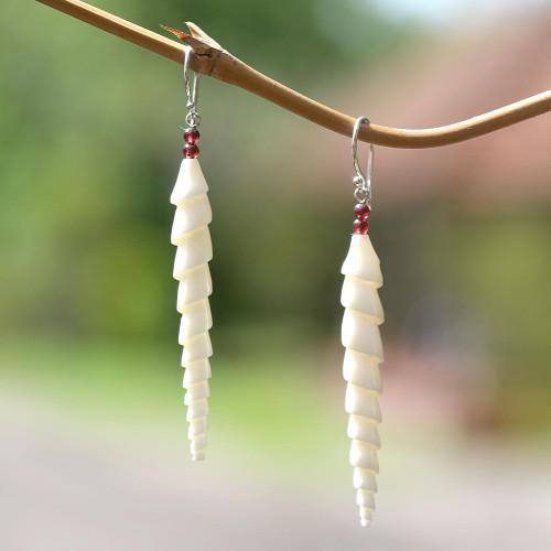 Spiral Bone and Amethyst Dangle Earrings from Bali 'Mystical Spirals'