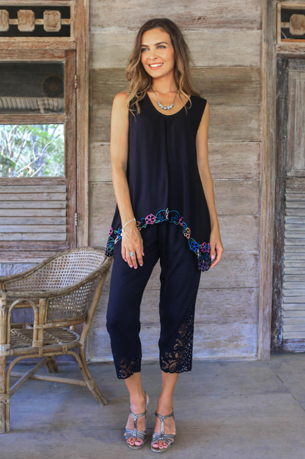 Floral Embroidered Rayon Blouse in Black from Bali 'Flower Colors in Black'